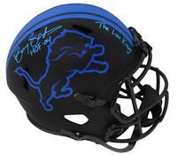 Barry Sanders Signed Lions Eclipse Black Speed F/S Helmet w/HOF, Lion King - SS