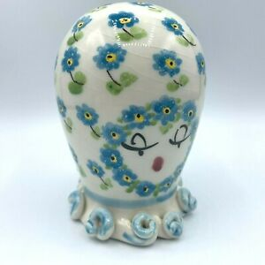 Vtg Anthropomorphic Octopus Pottery Ceramic Coin Bank Hand Painted Floral Italy