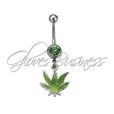Belly Button Rings Pot Leaf Dangle 14G Belly Button Ring 1.6mm Navel Ring Belly