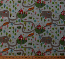 Cotton Schoolhouse School Bus Playground Cotton Fabric Print by the Yard M702.03