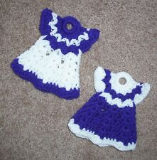 PAIR OF MINI DRESS POTHOLDERS, Crochet, PURPLE & WHITE, New, HANDMADE, Set of 2