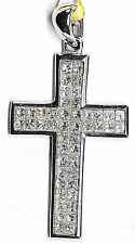 18k White Gold Princes Cut Diamond : 0.55 TCW  Cross Pendant .