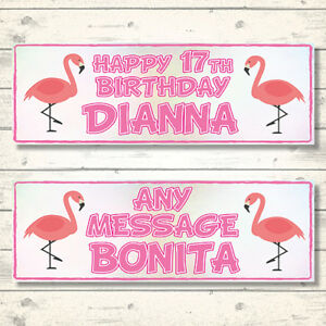 2 PERSONALISED 800 x 297mm PINK FLAMINGO BIRTHDAY BANNERS - ANY NAME/AGE/MESSAGE