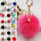 Charm Rabbit Fur Ball PomPom Cell Phone Car Keychain Pendant Handbag Key Ring