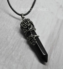Stunning Black Onyx Pendulum Floral Pendant Necklace Reiki Healing Ladies Gift