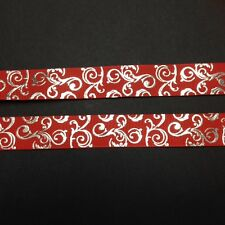 """Red  with silver Foil Swirl 7/8"""" Printed Grosgrain  Ribbon 1m"""