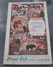 plaza de toros de nimes corrida1925 chicuelo facultades aguero programe officiel