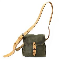 Genuine French shoulder bag army canvas leather olive OD magazine ammo pouch