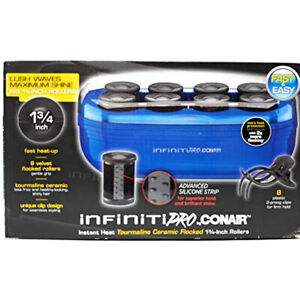"CONAIR Instant Heat Tourmaline Ceramic Flocked Rollers Hot Roller Setter 1.75"""