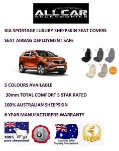 Sheepskin Car Seatcovers for Kia Sportage , Seat Airbag Safe, 5 Colours.30mm TC