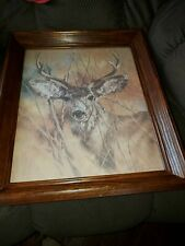 """Vintage Home Interior Silent Buck Picture Signed """"K. Maroon"""