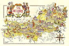 LOIRE RIVE VALLEY - 1951 Beautiful Original Pictorial cartoon Map - LIOZU - Wine