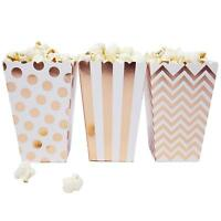 36 White Rose Gold Dot Stripe Chevron Mini Popcorn Boxes Candy Party Favor Boxes