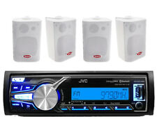 JVC Outdoor Bike Radio AUX iPhone Input Bluetooth Stereo, 4 White 3-Way Speakers