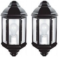 2x Exterior LED IP44 Lantern Half Surface Mounted Lamp Wall Porch Garden Light