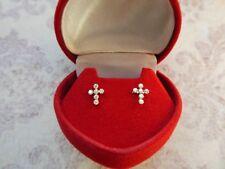 14K Yellow Gold Cross/Crucifix Diamond Pierced Earrings