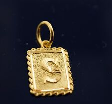 22k Jewelry Solid Gold Rectangular Shape Pendent S letter p321