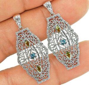 Aquamarine & Peridot 925 Solid Sterling Silver Filigree Earrings Jewelry VA1