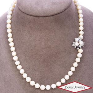 Estate Iolite 7mm Pearl 14K Gold Floral Cluster Necklace 42.0 Grams NR