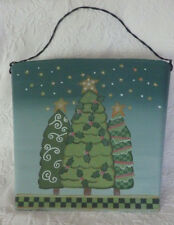 "Hanging Metal Green Basket Christmas Trees Wire Handle Painted  About 12"" by 13"""