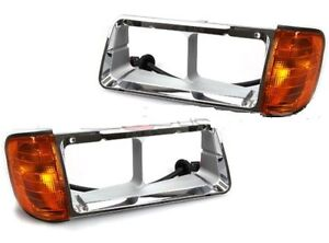 FREIGHTLINER FLD 120 1999 2000 2001 2002 HEADLIGHT  BEZELS CORNER LIGHTS PAIR