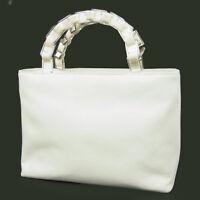 Auth Salvatore Ferragamo Logos Plastic Chain Canvas Small Tote Hand Bag F/S 995b