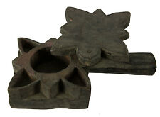 Grande Boite à tikka ou epices en bois sculpté.Inde Nepal -vintage- 4127