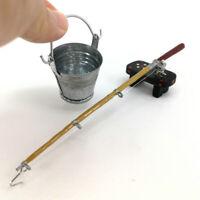 1:12 échelle Maison De Poupée Seau Miniature + Canne à Pêche + Ensemble De
