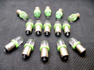 15 BRIGHT Green LED Domes Instrument Panel Dashboard Light Bulbs BA9S 1815 Chevy