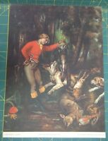 """""""After The Hunt"""" by Courbet 14"""" x 11"""" Lithograph Print Circa 1937"""