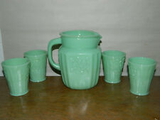 Jade Jadite Milk Glass Water Pitcher 4 Tumbler Glasses VGC