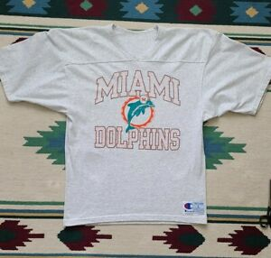 Vintage champion Miami Dolphins NFL Football Grey Jersey T-shirt Large USA