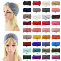 Women Girl Winter Warm Cross Crochet Knitted Soft Headband Hair Band Accessories