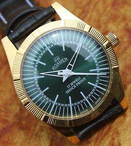 Luxury Vintage Roamer FHF ST96 17 Jewels Hand Wind Swiss Made Men's Wristwatch