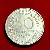 #1766 - RARE - 50 centimes 1964 Marianne SUP/SPL FACTURE