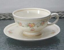 "VINTAGE "" FOOTED CUP & SAUCER SET"" COUNTESS PATTERN CIRCA 1943 HOMER LAUGHLIN"