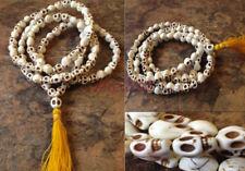 White Howlite Skull 108 Beads Full Mala Necklace for Meditation and 8MM 108