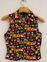 Vintage 90's FINITY STUDIO Women Silk Top Sz 6 Bright Multicolor Sleeveless Zip