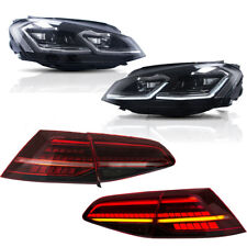 Full LED Headlights + Tail Lights For VW Golf 7 MK7 13-17 Sequential Indicator