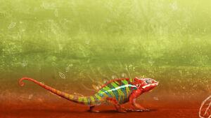 Chameleon Home Decor Canvas Print A4 Size (210 x 297mm)