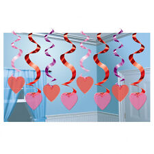 15 VALENTINES DAY PARTY PINK RED CANDY HEART VALUE PACK HANGING SWIRL DECORATION