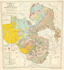 1961 Geological Map of Rhodesia and Nyasaland (Zimbabwe)
