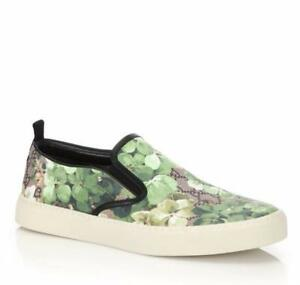Gucci Supreme GG Canvas 'Bloom' Print Slip-On Sneakers Green flower 407362 8961