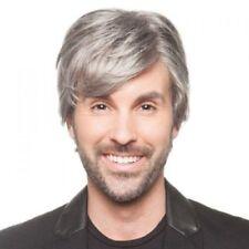 Fashion Men Short Toupee Capless Shaggy Natural Straight Silver Grey Mix Wig