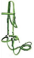 Braided Nylon Bitless Bridle with Knotted Reins - LIME - New Horse Tack