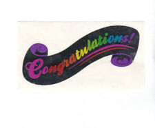 Vintage 80's Sandylion Mylar Foil Sticker - Congratulations Celebration Party