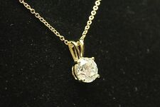 """PENDANT WITH 1 Carat ROUND CUT & 16"""" 14k Yellow Gold Cable Chain"""