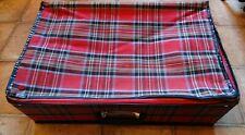 Vintage red tartan 60s folding mod suitcase