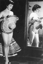1940s-60s (4 x 6) Repro Risque Pinup RP- Holds Hat- Reflection in Mirror