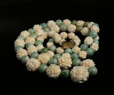 Antique Chinese Round Jadeite Jade Bead  and Rose Bead Necklace